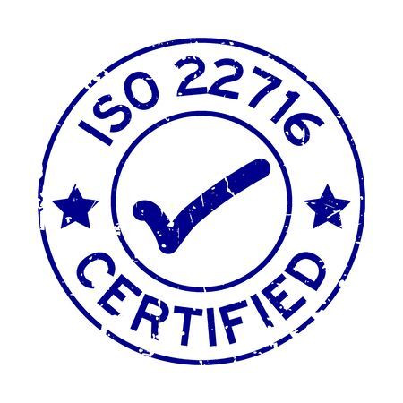 Grunge blue ISO 22716 certified with mark icon round rubber seal stamp on white background