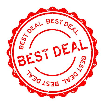 Grunge red best deal word round rubber seal stamp on white background