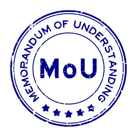 Grunge blue MOU (abbreviation of memorandum of understanding) word round rubber seal stamp on white background