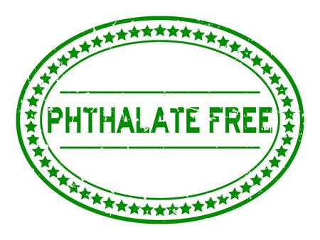 Grunge green phthalate free word oval rubber seal stamp on white background