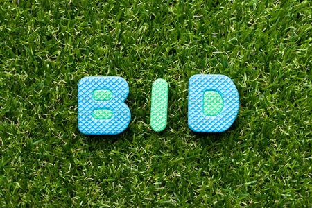 Toy foam letter in word bid on green grass background Banque d'images