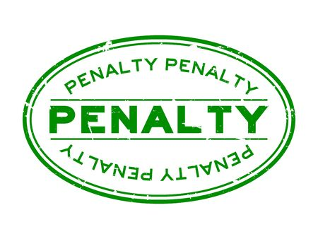 Grunge green penalty word oval rubber seal stamp on white background
