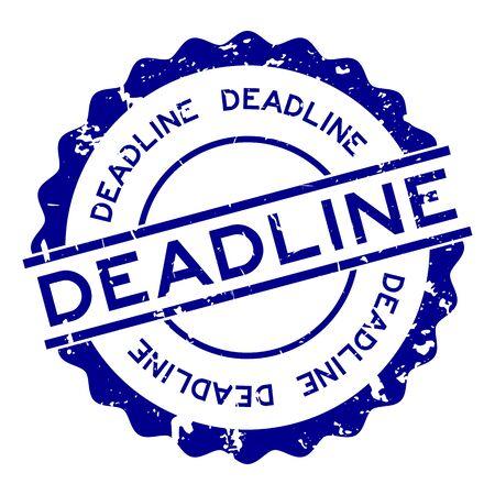 Grunge blue deadline word round rubber seal stamp on white background  イラスト・ベクター素材