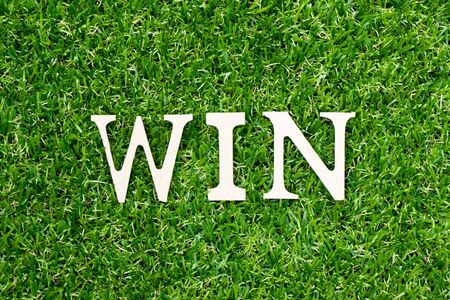 Wood letter in word win on green grass background