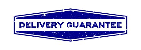 Grunge blue delivery guarantee word hexagon rubber seal stamp on white background Ilustração