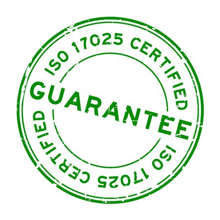 Grunge green iso 17025 certified guarantee word round rubber seal stamp on white background Illustration