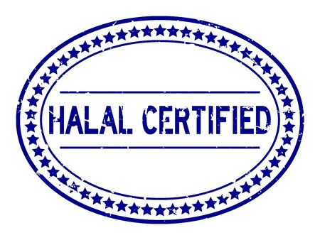 Grunge blue halal certified word oval rubber seal stamp on white background 向量圖像