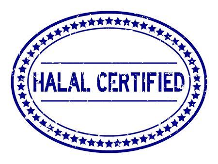Grunge blue halal certified word oval rubber seal stamp on white background Ilustração