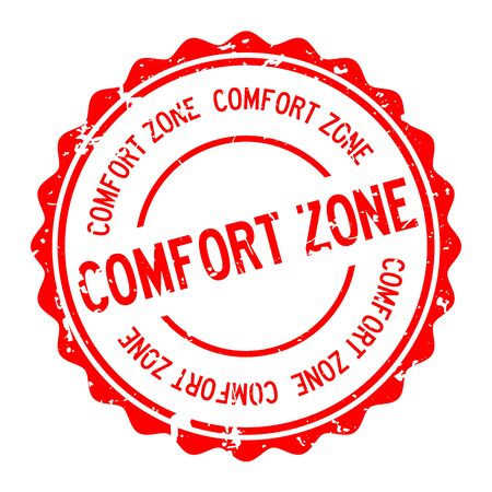 Grunge red comfort zone word round rubber seal stamp on white background  イラスト・ベクター素材