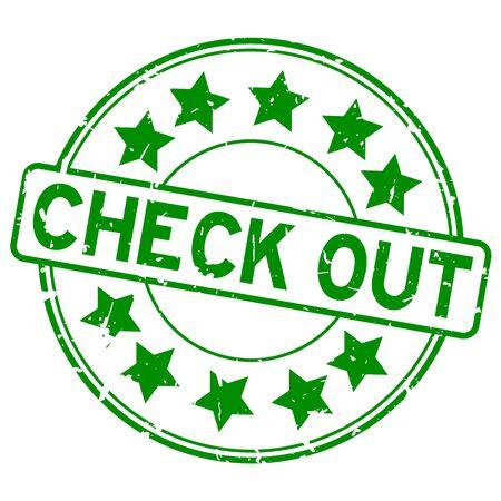 Grunge green check out word with star icon round rubber seal stamp on white background Vektoros illusztráció