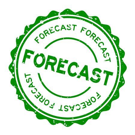 Grunge green forecast word round rubber seal stamp on white background Illustration