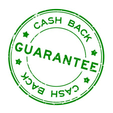 Grunge green guarantee cash back word round rubber seal stamp on white background