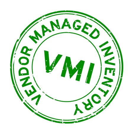 Grunge green VMI (abbreviation of vendor managed inventory) word round rubber seal stamp on white background