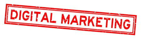 Grunge red digital marketing word rubber seal stamp on white background