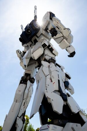 TOKYO, JAPAN - April 28, 2019, The backside of RX-0 Unicorn Gundam statue in normal mode located at Diver City Tokyo Plaza Tokyo, Odaiba