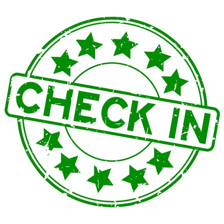 Grunge green check in word with star icon round rubber seal stamp on white background Illustration