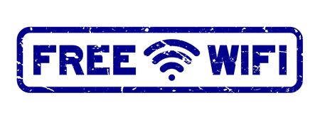 Grunge blue free wifi with icon square rubber seal stamp on white background