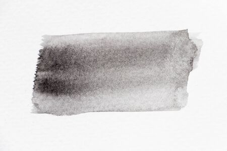Black color watercolor handdrawing as line brush on white paper background Archivio Fotografico - 133475273