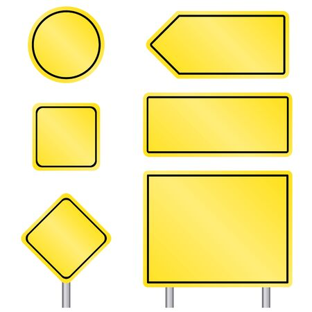 Blank multiple size of yellow transportation sign set with pole