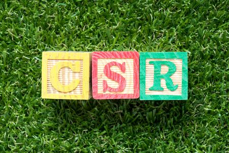 Color wood block in word CSR (Abbbreviation of corporate social responsibility) on artificial green grass background 스톡 콘텐츠