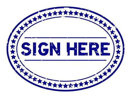 Grunge azul signo aquí palabra sello de goma ovalada sobre fondo blanco Ilustración de vector