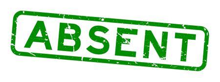 Grunge verde palabra ausente cuadrado goma sello sello sobre fondo blanco.