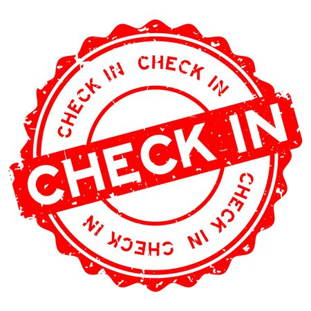 Grunge red check in word round rubber seal stamp on white background