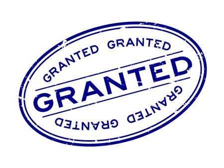 Grunge blue granted word oval rubber seal stamp on white background