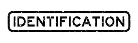 Grunge black identification word square rubber seal stamp on white background Ilustração