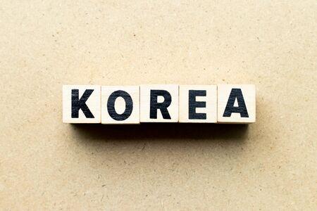 Letter block in word korea on wood background