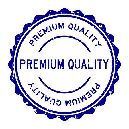 Grunge blue premium quality word round rubber seal stamp on white background Çizim
