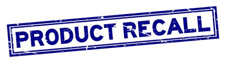 Grunge blue product recall word square rubber seal stamp on white background Standard-Bild - 135108996