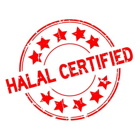 Grunge red halal certified word with star icon round rubber seal stamp on white background Çizim