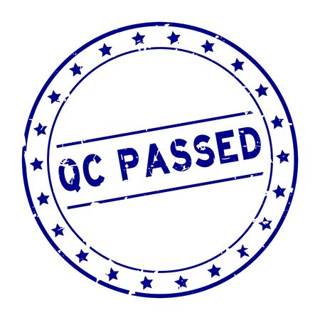 Grunge blue QC (quality control) passed word with star icon round rubber seal stamp on white background Ilustrace