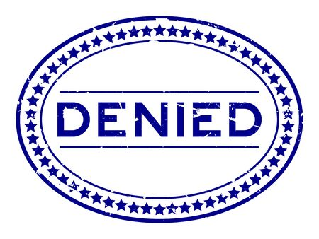 Grunge blue denied word oval rubber seal stamp on white background