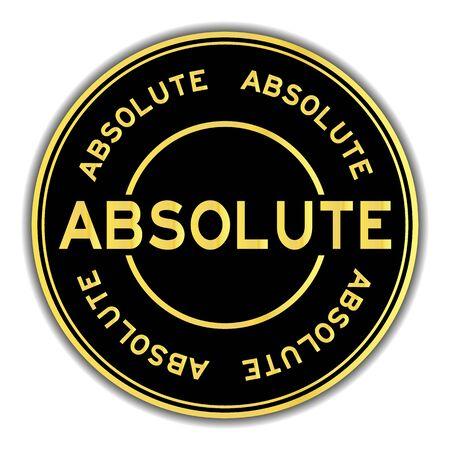Gold color absolute word round sticker on white background Ilustração