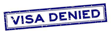 Grunge blue visa denied word rubber seal stamp on white background