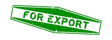 Grunge green for export word hexagon rubber seal stamp on white background 일러스트