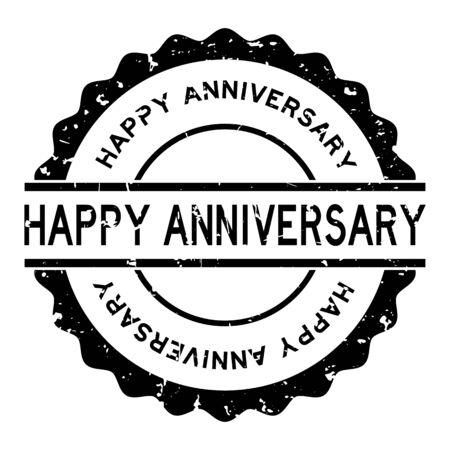 Grunge black happy anniversary word round rubber seal stamp on white background