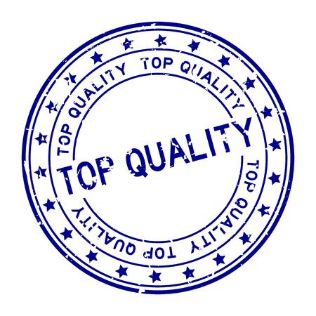 Grunge blue top quality word round rubber seal stamp on white background