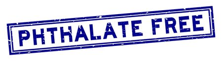 Grunge blue phthalate free word square rubber seal stamp on white background