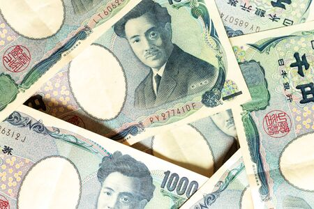 Group of Japanese bank note thousand yen background