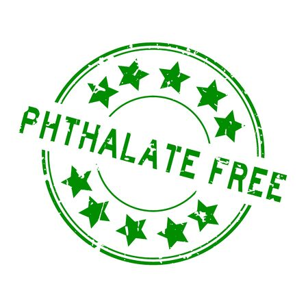 Grunge green phthalate free word with star icon round rubber seal stamp on white background