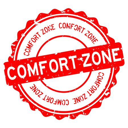 Grunge red comfort zone word round rubber seal stamp on white background Ilustracja