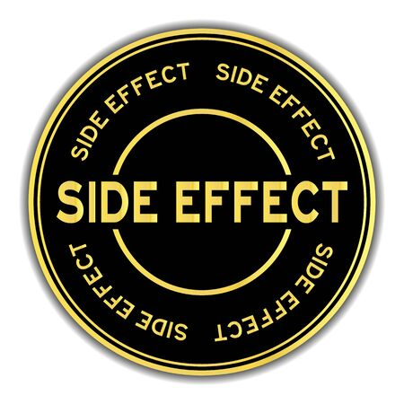 Gold color side effect word round sticker on white background