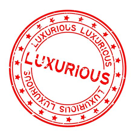 Grunge red luxurious word squre rubber seal stamp on white background Illustration