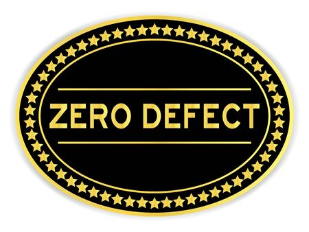 Black and gold color oval sticker with word zero defect on white background 矢量图像