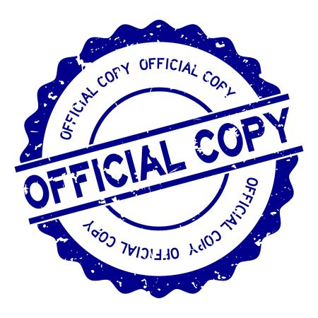 Grunge blue official copy word round rubber seal stamp on white background