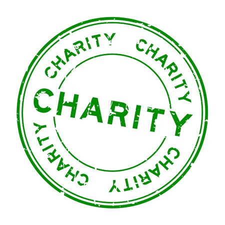 Grunge green charity word round rubber seal stamp on white background