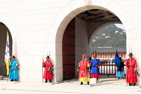 Seoul, South Korea- Oct 25, 2019 : Guard changing ceremony in front of gyeongbokgung palace